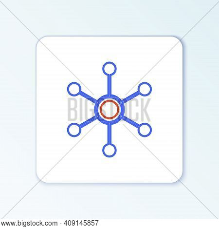 Line Network Icon Isolated On White Background. Global Network Connection. Global Technology Or Soci