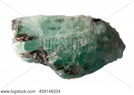 Natural Crude Green Emerald On White Background