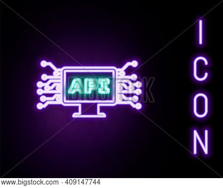 Glowing Neon Line Computer Api Interface Icon Isolated On Black Background. Application Programming