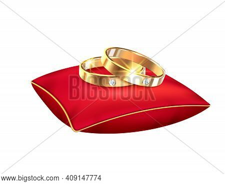 Wedding Rings Realistic Big Set With Isolated Images Of Alliance Rings Red Ribbons Boxes And Pillows