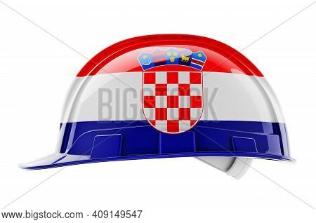 Hard Hat With Croatian Flag, 3d Rendering Isolated On White Background