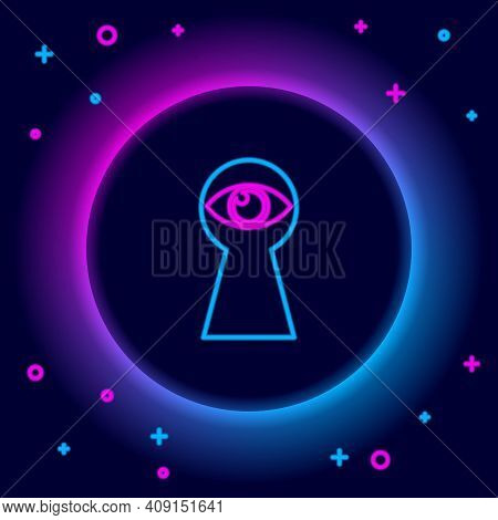 Glowing Neon Line Keyhole With Eye Icon Isolated On Black Background. The Eye Looks Into The Keyhole