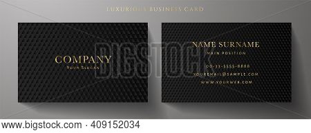 Business Card With Luxury Abstract Black Triangle Pattern (carbon Texture). Formal Premium Backgroun