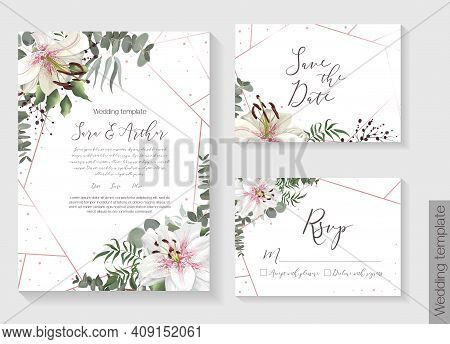 Vector Botanical Template For Postcard. Mint And Green Foliage, Royal White Lilies, Berries, Eucalyp