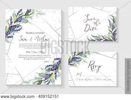 Floral Vector Template For Wedding Invitation. Lavender, Green Leaves. Vector Invitation Set: Square