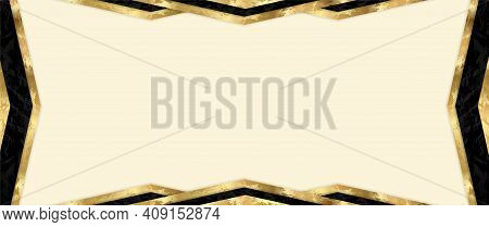 Gift Card Design With Blank Background And Geometric Triangle Frame (gold And Black Elements). Premi
