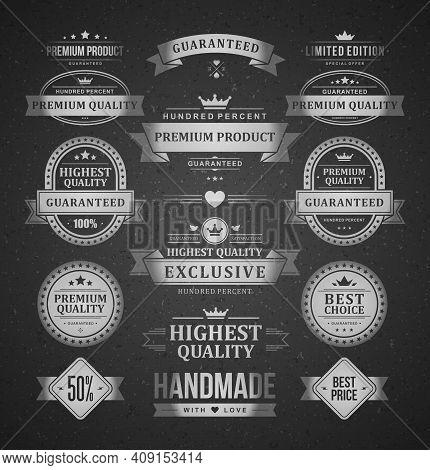 Premium Products Vector Labels Logos Set Vintage Typographic Decoration