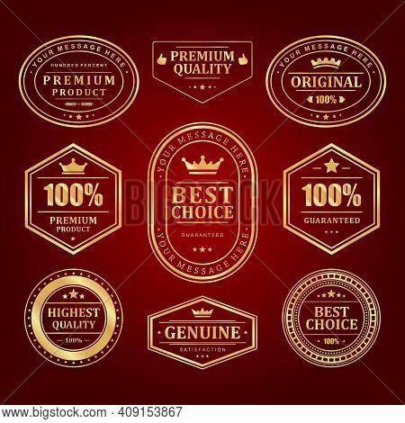 Gold Frames Premium Vector Labels And Logos Set.