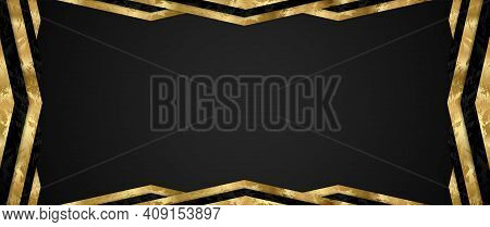 Gift Card Design With Blank Black Background And Geometric Triangle Frame (gold And Black Elements).