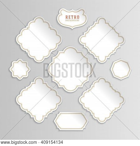 Vintage White Vector Stickers And Labels Set With Frames