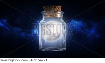 Empty Jarempty Jar. Photomanipulation Abstraction Of The Moon In The Bank. Full Moon. Full Moon In A