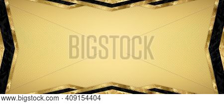 Gift Card Design With Blank Gold Background And Geometric Triangle Frame (gold And Black Elements).