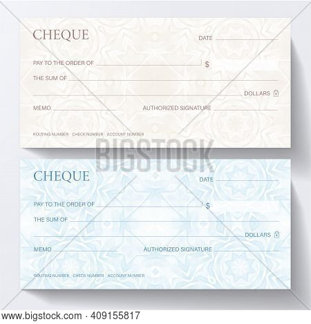 Check, Cheque (cheque Book Template). Guilloche Pattern With Abstract Line Watermark. Background For