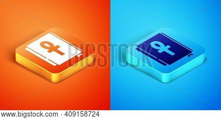 Isometric Cross Ankh Book Icon Isolated On Orange And Blue Background. Vector