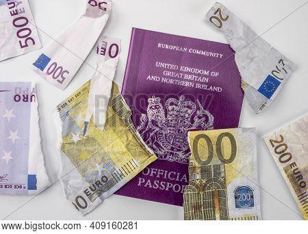 British Passport Next To Broken Euro Notes, European Union, Brexit