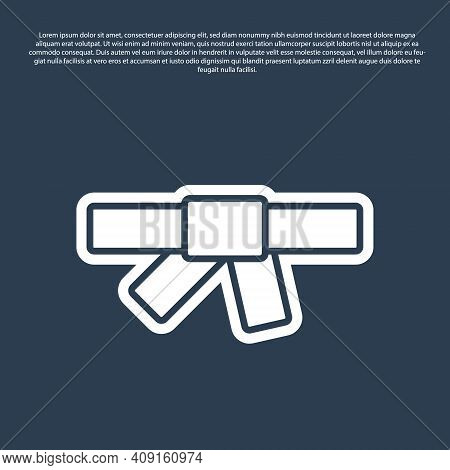 Blue Line Black Karate Belt Icon Isolated On Blue Background. Vector