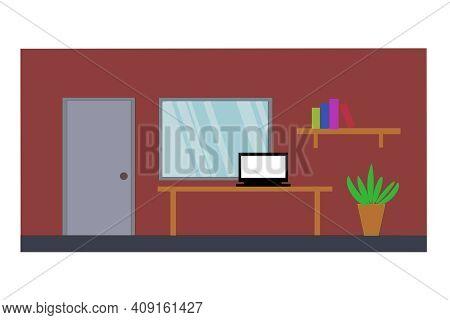 Flat Elevation Furniture Interior Room Door, Window, Notebook On Table, Bookshelf Tree Pod, Inside H