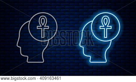 Glowing Neon Line Cross Ankh Icon Isolated On Brick Wall Background. Vector