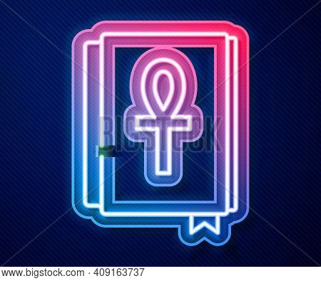 Glowing Neon Line Cross Ankh Book Icon Isolated On Blue Background. Vector