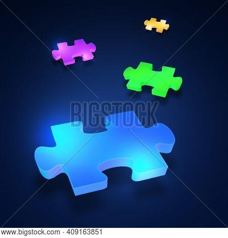 Blue Puzzle Piece On Blue Background. 3d Illustration Of A Blue Puzzle Piece On A Blue Background. 3