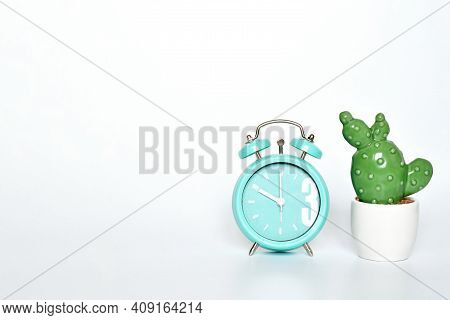 Selective Focus Ceramic Cactus And  Green Mint Vintage Clock Show 10 O'clock Put On White Gray Backg