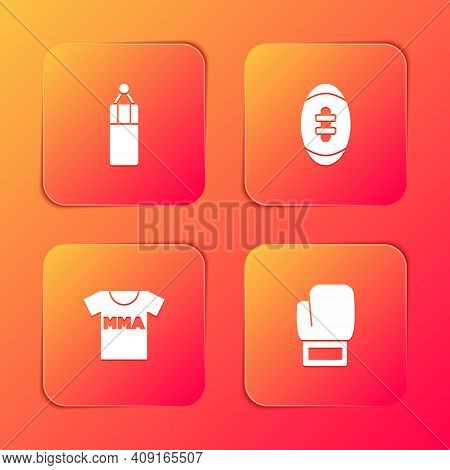 Set Punching Bag, American Football Ball, T-shirt With Fight Club Mma And Boxing Glove Icon. Vector