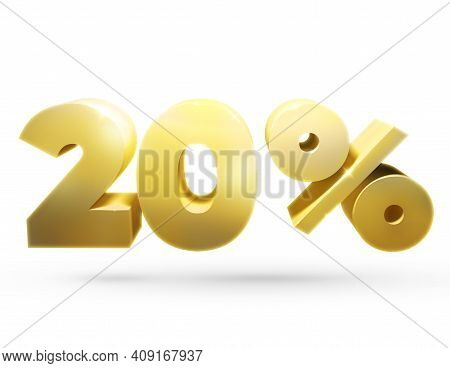 3d Number. 3d Illustration Of The Number 20 And Percent. Golden Number 20 And Percent Sign.