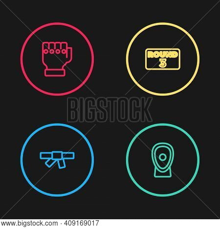 Set Line Black Karate Belt, Boxing Training Paws, Ring Board And Mma Glove Icon. Vector