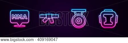 Set Line Fight Club Mma, Black Karate Belt, Gong And Boxing Helmet. Glowing Neon Icon. Vector