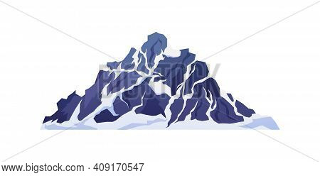 Snowy Rocky Mountain Cliff Isolated Cartoon Icon. Vector Top Of Mount Ridge, Hiking And Climbing Exp