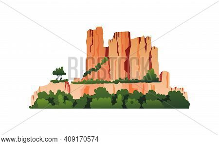 Mountain With Vegetation, Green Trees On Rocky Cliffs, Grass And Bushes Isolated Cartoon Icon. Vecto