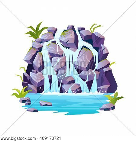 Tropical Waterfalls Landscape, Rocky Mountain, River Rapids Cartoon Icon. Vector Topical Or Jungle S