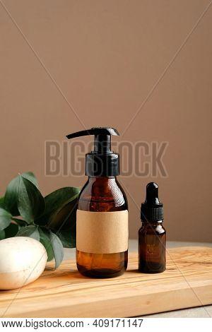 Amber Glass Dispenser Bottle Of Shower Gel, Dropper Bottle Of Essential Oil, Handmade Organic Soap,