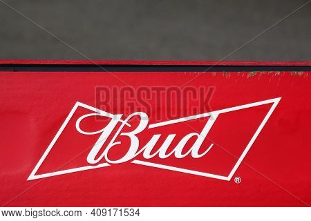 Oingt, France - October 19, 2020: Budweiser Logo On A Wall. Budweiser Is An American-style Pale Lage