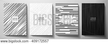 Modern White And Black Cover Design Set. Luxury Creative Dynamic Diagonal Line Pattern. Formal Premi