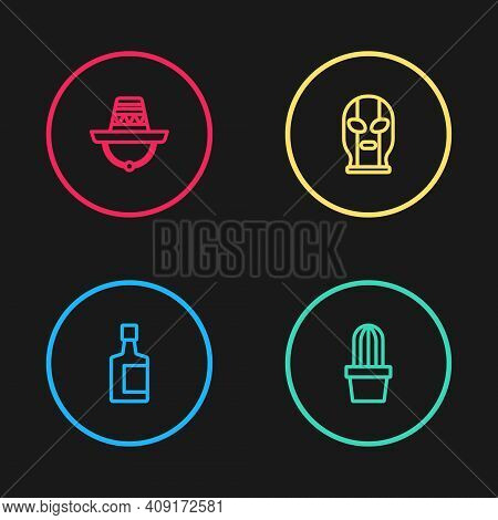 Set Line Tequila Bottle, Cactus Or Succulent In Pot, Mexican Wrestler And Sombrero Icon. Vector