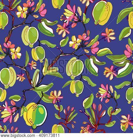 Floral Vector Seamless Pattern. Botanical Wallpaper. Plants, Fruits,flowers Backdrop. Drawn Nature V