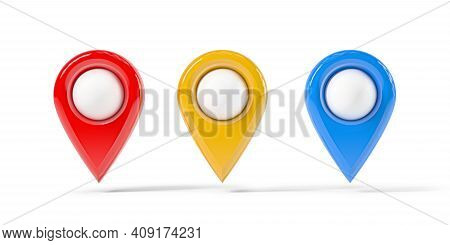 Map Point Of In Different Colors, Location Pin Isolated From The White Background. 3d Rendering