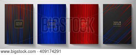Modern Black, Blue, Red Stripe Cover Design Set. Luxury Creative Dynamic Line Pattern. Formal Premiu