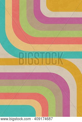 An Artistically Designed, Fun, Retro Background With Groovy Stripes.
