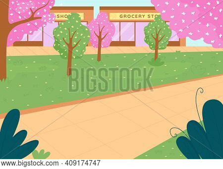 City Park In Spring Flat Color Vector Illustration. Trees With Flowers. Street In Downtown District.