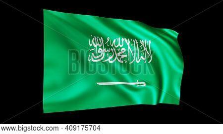The flag of Saudi Arabia isolated on black, realistic 3D wavy Arabian flag render illustration.
