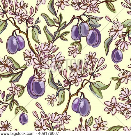 Seamless Pattern With Ripe Plums, Green Branches, Leaves And Spring Flowering. Herbarium On Yellow B