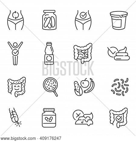 Probiotics, Dietary Supplements Thin Line Icons Set Isolated On White. Prebiotics, Healthy Digestion