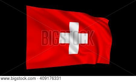 The flag of Switzerland isolated on black, realistic 3D wavy Swiss flag render illustration.