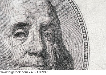 Macro Texture Of The Portrait Of The American President On Hundred Dollar Bill, Background Of Hundre