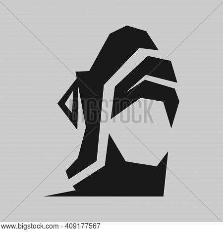 Abstract Sports Running Shoe Symbol On Gray Backdrop. Design Element