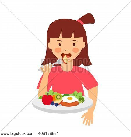 Girl Kids Eating Sausage, Fried Egg, Fruits And Some Vegetables In Flat Design On White Background.