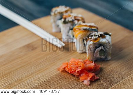 Red Ginger Sushi Chopsticks Wooden Board Meal Delicacy