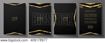 Modern Black Cover Design Set With Gold Geometric Lines (triangle). Luxury Creative Premium Pattern